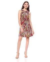 64d9286b Nine West Flared Floral Pattern Cold Shoulder Dress in Red - Lyst