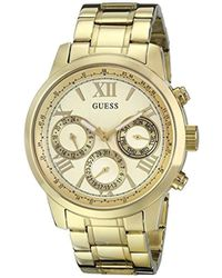 Guess - Stainless Steel Classic Bracelet Watch, Color: Gold-tone (model: U0330l1) - Lyst