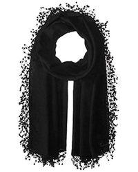 La Fiorentina - Wool-silk Blend Scarf With Lace Pom Fringe - Lyst