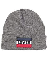cebc30f2ebad3 Lyst - Levi s Knit Cuff Beanie With Oversized Logo in Black for Men ...