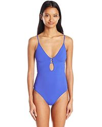 5dc8397aab827 American Eagle Tie Back One Piece Swimsuit in Blue - Lyst