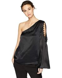 3d4ed94d757c11 Lyst - Parker Ripley One-shoulder Silk Blouse in Black