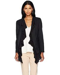 Nicole Miller - Wool Gabardine Blazer W/silk GGT Ruffle Detail - Lyst