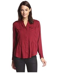 James & Erin - Pleated Button-front Shirt With Pockets - Lyst