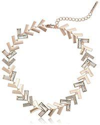 T Tahari - Chevron Chic Jet Cry Collar Necklace - Lyst