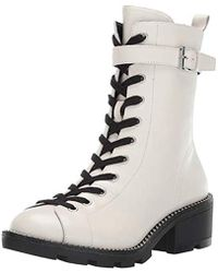 501a56ca5fd Kendall + Kylie Prime Lace-up Leather Biker Boot in Black - Lyst