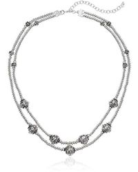 Napier - Silver-tone With Light Antique Multirow Necklace - Lyst
