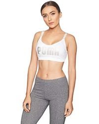 d6843a7d22ccb Lyst - Puma Ribbed Lace-up Sports Bra in White