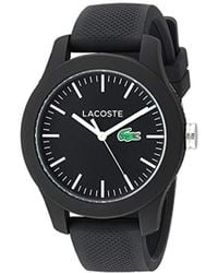 Lacoste - 'ladies 12.12' Quartz Resin And Silicone Watch, Color:black (model: 2000956) - Lyst