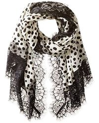 La Fiorentina - Lightweight Wool Scarf With Lace Border - Lyst