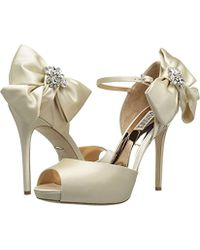 31371abf83a Lyst - Badgley Mischka Women s Samra Embellished Satin Bow Platform ...