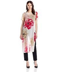 Calvin Klein - Short Sleeve Long Floral Tunic - Lyst