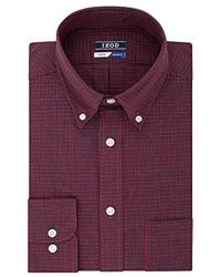 Izod - Regular Fit Stretch Check Buttondown Collar Dress Shirt - Lyst