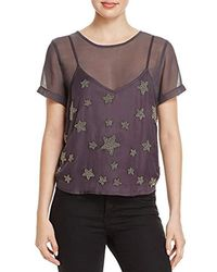 Guess - Short Sleeve Colton Beaded Stars Top - Lyst