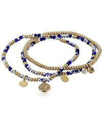 Kenneth Cole - Mixed Blue Faceted Bead Stretch Bracelet - Lyst