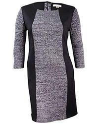 Calvin Klein - 3.4 Sleeve Heathered Sweater With Scuba Insert - Lyst