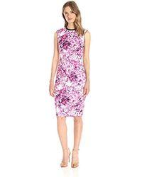 Lark & Ro - Sleeveless Printed Scuba Sheath Dress - Lyst