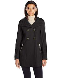 Guess - Melton Wool Military A Line Coat - Lyst
