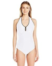 37e498f9616d3 Jones New York - Hampton Solid One Piece Swimsuit With Power Mesh - Lyst