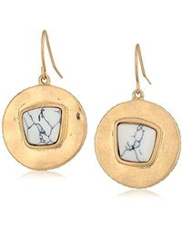 The Sak - Semi-precious Round Drop With Stone Drop Earrings - Lyst