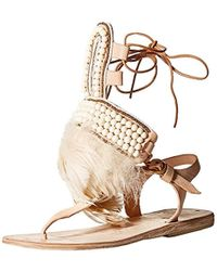 Brother Vellies - Ponte D'uoro Feather And Beaded Gladiator Sandal - Lyst