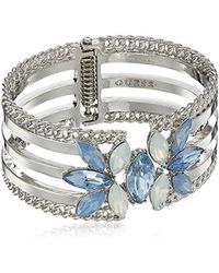 Guess - S Wide Hinge Cuff With Stones Bracelet - Lyst