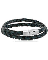 Tateossian - Silver & Blue Leather Double Wrap Scoubidou Bracelet | - Lyst
