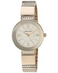 Anne Klein - Ak/3190chgb Swarovski Crystal Accented Gold-tone Bracelet Watch - Lyst
