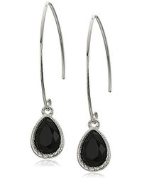 Nine West - Silver-tone And Jet Threader Drop Earrings - Lyst