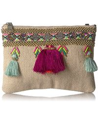 Steve Madden - Marcia Tassels Embroidered Boho Fabric Clutch Crossbody, Multi - Lyst