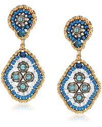Miguel Ases - Small Swarovski Cluster Rhombus Post Drop Earrings, Egyptian Blue - Lyst