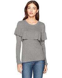Kensie - Soft Sweater With Pop Over Ruffle Layer - Lyst
