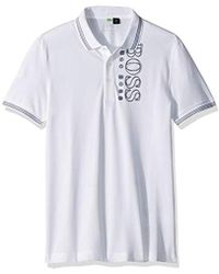 d32a0aa2 BOSS Stretch Cotton Polo Shirt, Slim Fit | Paule Flag in Natural for ...