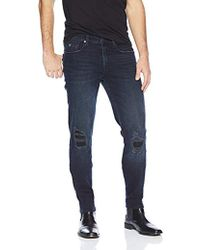 9e39a125781 Lyst - Guess Lincoln Coated Darkwash Denim Jeans in Brown for Men