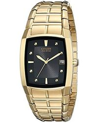 Citizen - Eco-drive Stainless Goldtone Watch With Black Dial - Lyst