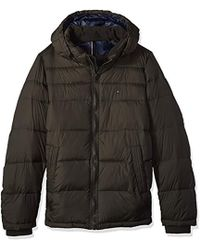 Tommy Hilfiger - Big Tall Insulated Midlength Quilted Puffer Jacket With Fixed Hood - Lyst