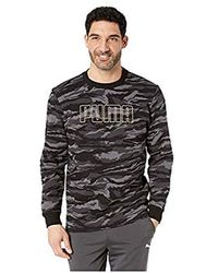 PUMA - Camo Foil Fleece Crew ( Black/gold) Clothing - Lyst