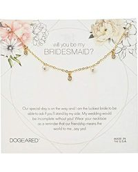 """Dogeared - Will You Be My Bridesmaid Flower Card Danggling Pearl Chain Necklace, 16"""" + 2"""" Extension - Lyst"""