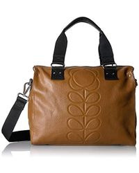 Orla Kiely - Embossed Flower Stem Leather Zip Messenger - Lyst