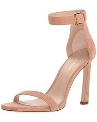 8648fedc1127 Lyst - Stuart Weitzman Frontroom Suede Heeled Sandal in Natural