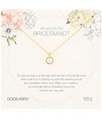 """Dogeared - Will You Be My Bridesmaid Flower Card Large Bezel Pearl Pendant Chain Neckalce, 16"""" + 2"""" Extension - Lyst"""