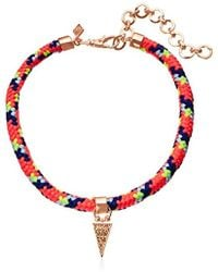 Rebecca Minkoff - Climbing Rope With Charm Drop Choker Necklace - Lyst