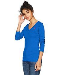 U.S. POLO ASSN. - Ribbed V-neck T-shirt - Lyst