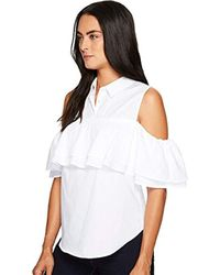 Trina Turk - Basinger Polished Shirting Cold Shoulder Top - Lyst