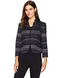Nine West - Striped Ponte Kiss Front Jacket - Lyst