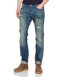 Armani Jeans - Dark Slim Fit Denim With Rip And Repair Details - Lyst