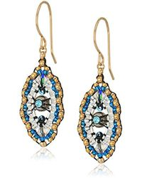 Miguel Ases - Small Swarovski Center Oval Ruffle Contrast Drop Earrings - Lyst