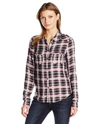 PAIGE - Mya Plaid Shirt-black/beaujolais - Lyst