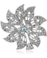 "Napier - ""classics"" Silver-tone Boxed Crystal Flower Pin - Lyst"