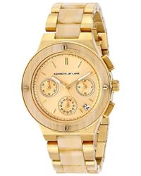 Kenneth Jay Lane - 2141 2100 Series Gold Ion-plated And Horn Resin Bracelet Watch - Lyst